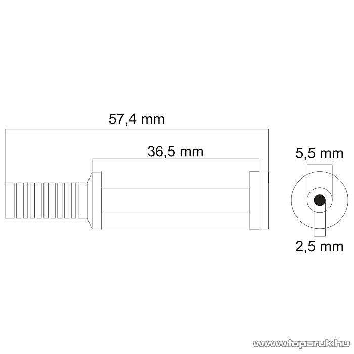 DC aljzat / csatlakozó, törésgátlóval 5.5/2.5, 5 db / csomag (05154) - készlethiány