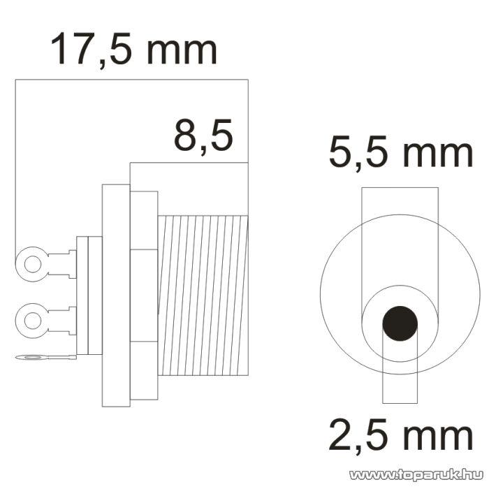 DC aljzat / csatlakozó, beépíthető 5.5/2.5, 5 db / csomag (05157)