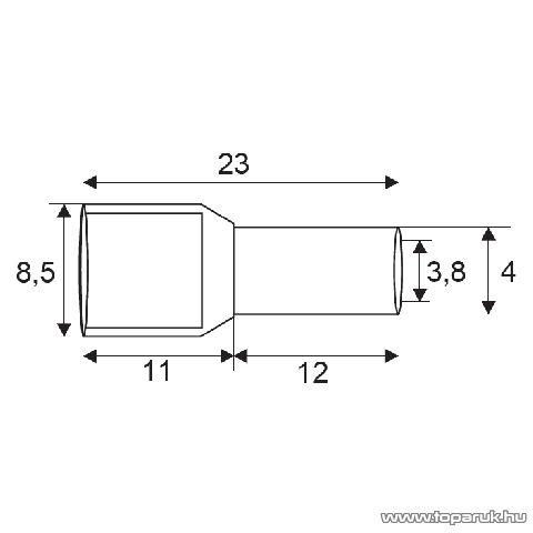 Érvéghüvely, 2 x 4,0 mm2-es vezetékekhez, narancs, 100 db / csomag (05725)