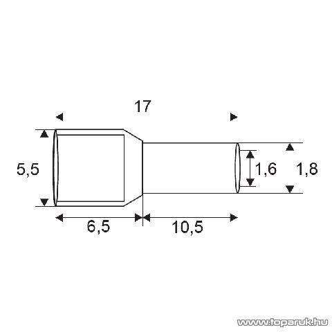 Érvéghüvely, 2 x 0,75 mm2-es vezetékekhez, szürke, 100 db / csomag (05721)