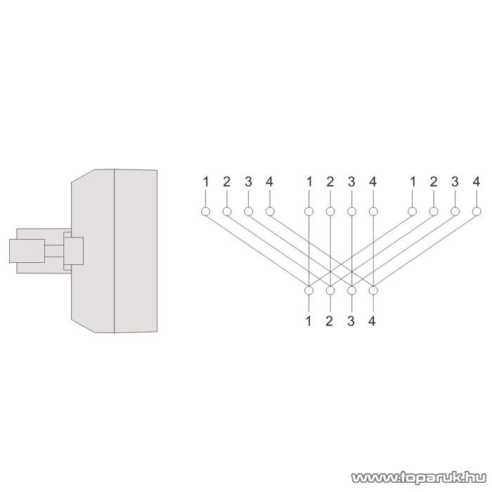 6P4C Y elosztó 1 dugó - 3 aljzat, fehér, 5 db / csomag (05225)