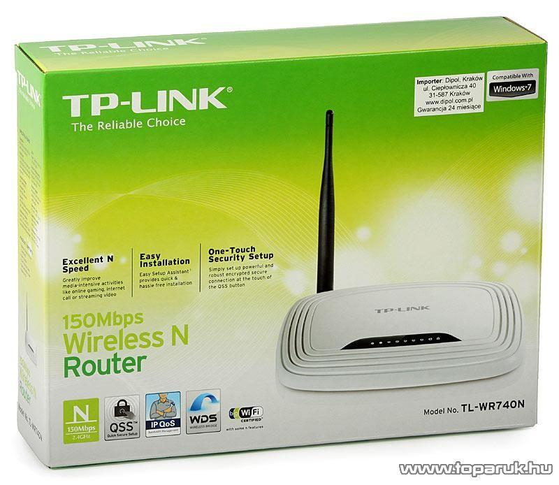TP-LINK TL-WR740N 150 Mbps Wireless (Wifi) Router, Fix antennás (642G utódja)
