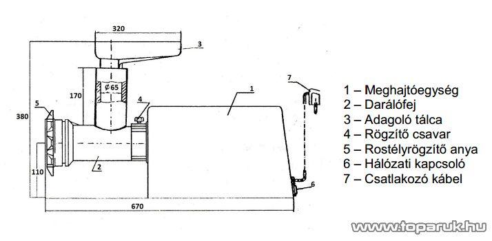 FHD 60 Elektromos húsdaráló, 520 W, króm házas