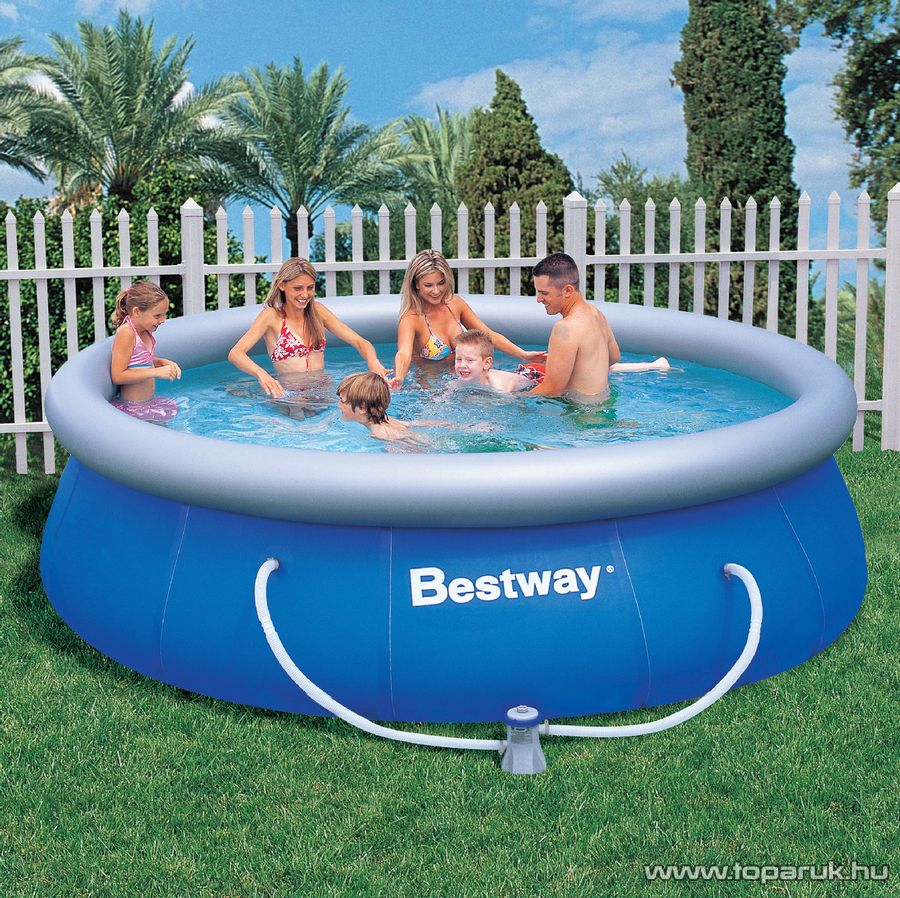 Bestway PILLE puhafalú kerti medence vízforgatóval és védőtakaróval, 366 x 91 cm