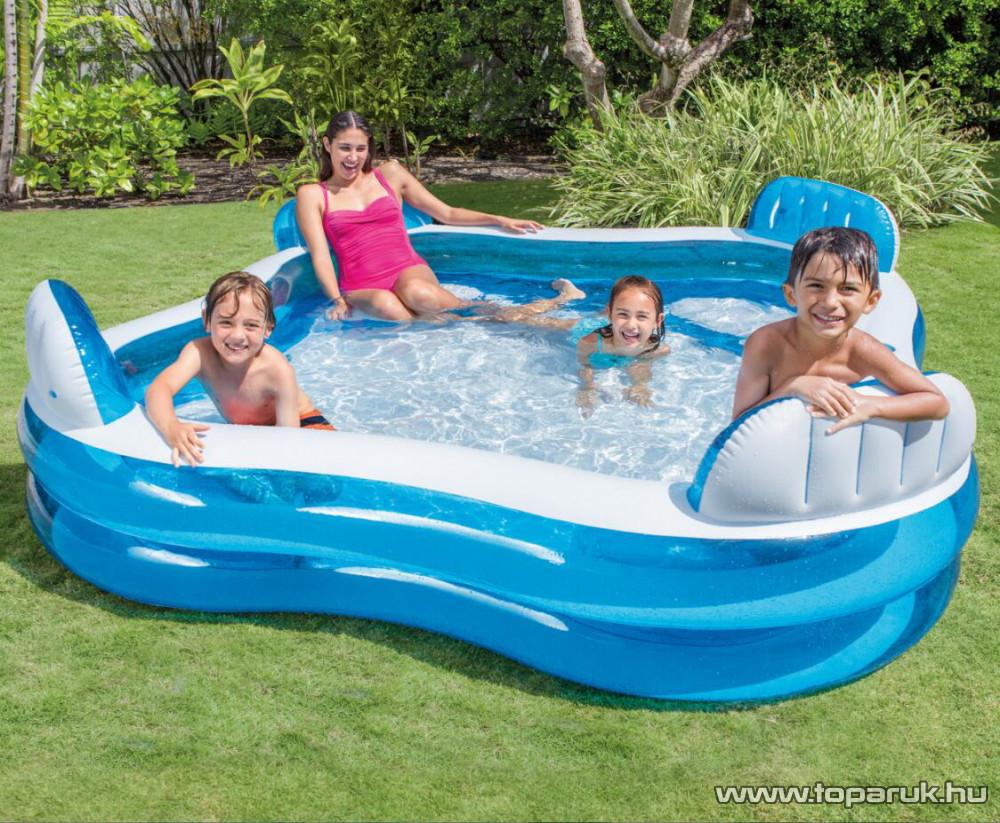 Intex Háttámlás családi medence, kerti medence ülésekkel, 229 x 229 x 66 cm (56475) - készlethiány