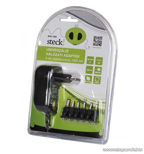Steck SHA 1000 Változtatható feszültségű hálózati adapter, 1000 mA,  3-12V, forgatható (12040002)