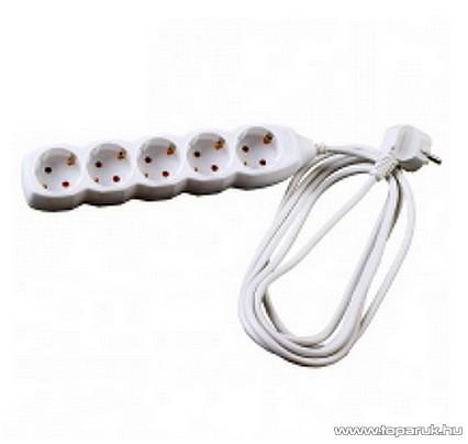 Steck SE 530 Kapcsoló nélküli 5-ös hálózati elosztó, 3 m kábel, fehér (11033401)