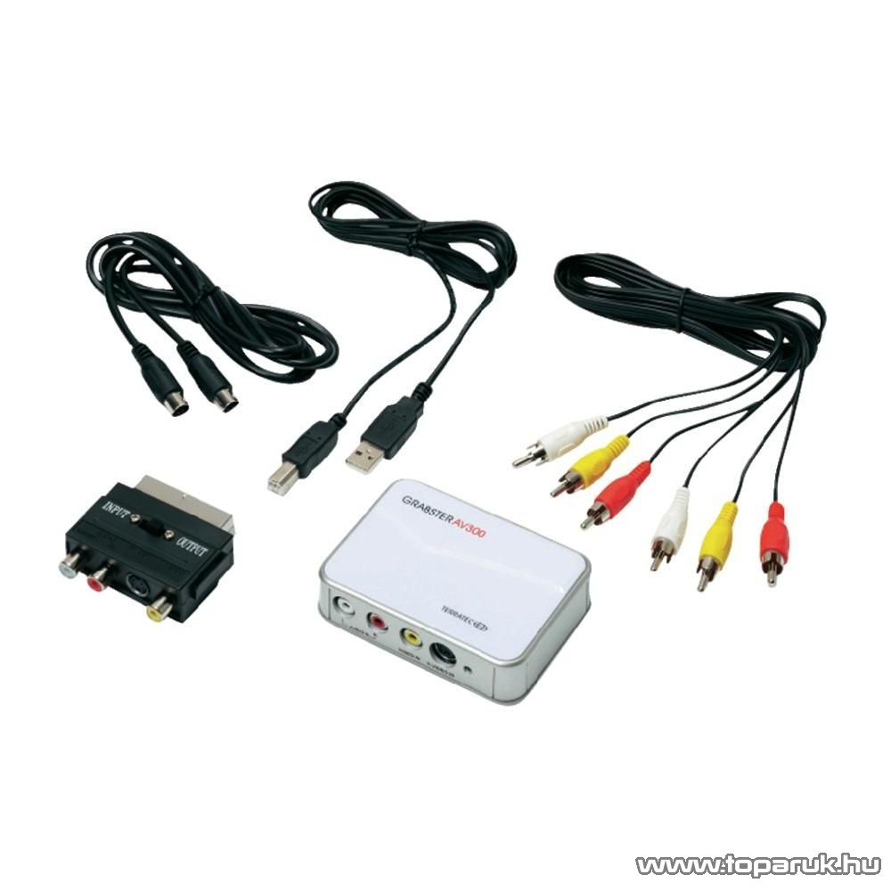 Terratec Grabster AV 300 MX Videó digitalizáló, Kompozit, S-video, Sztereo audio, USB 2.0, külső - készlethiány