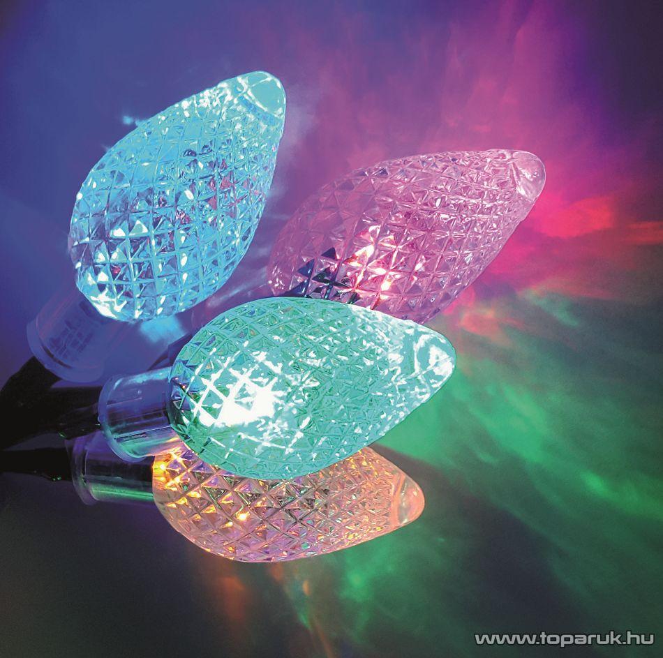 Design Dekor KDE 035 Kültéri 30 LED-es KRISTÁLYCSEPP fényfüzér, 6 m hosszú, zöld színű kábellel, színes (multi) világítással