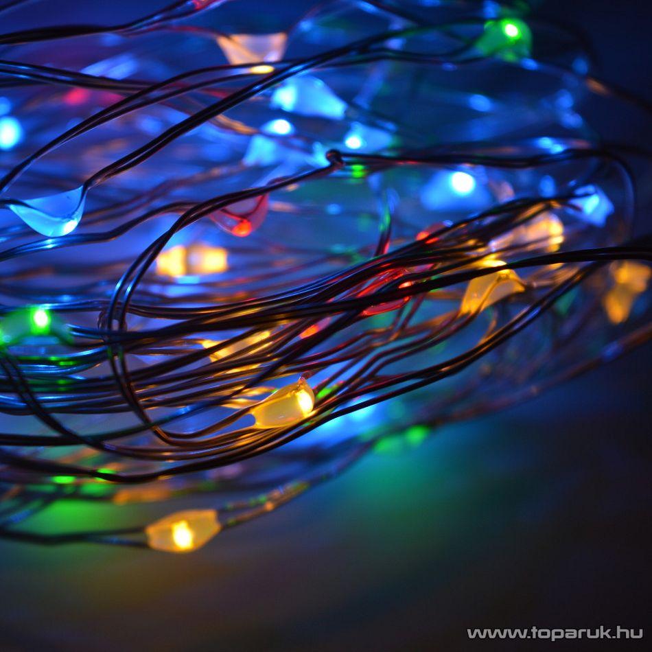 DekorTrend KDE 215 TÜNDÉRFÉNY DEKORFÜZÉR Beltéri elemes, LED-es fényfüzér, 10 m hosszú, 100 db (multi) színes LED-del, állófényű