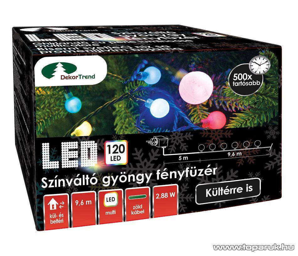 Design Dekor KDG 125 Kültéri design 120 LED-es GYÖNGY FÉNYFÜZÉR, 9,6 m hosszú, zöld színű kábellel, színes világítással (multi)