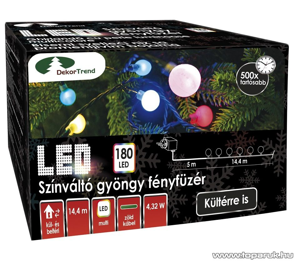 Design Dekor KDG 186 Kültéri design 180 LED-es gyöngy fényfüzér, 14,4 m hosszú, zöld színű kábellel, színes (multi) világítással - készlethiány