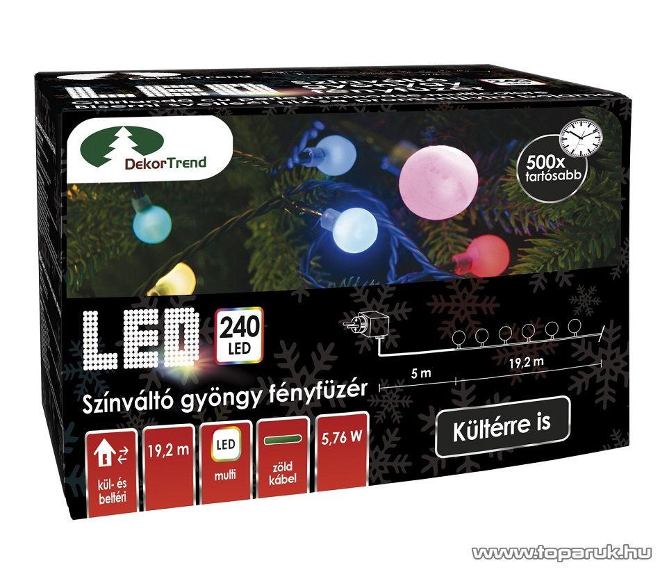 Design Dekor KDG 245 Kültéri design 240 LED-es GYÖNGY FÉNYFÜZÉR, 19,2 m hosszú, zöld színű kábellel, színes (multi) világítással