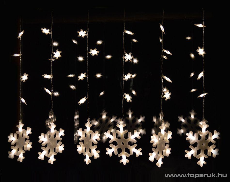 Design Dekor KDH 002 Beltéri LED-es HÓESÉS FÉNYFÜGGÖNY, 57 db meleg fehér fényű leddel, 100 x 65 cm