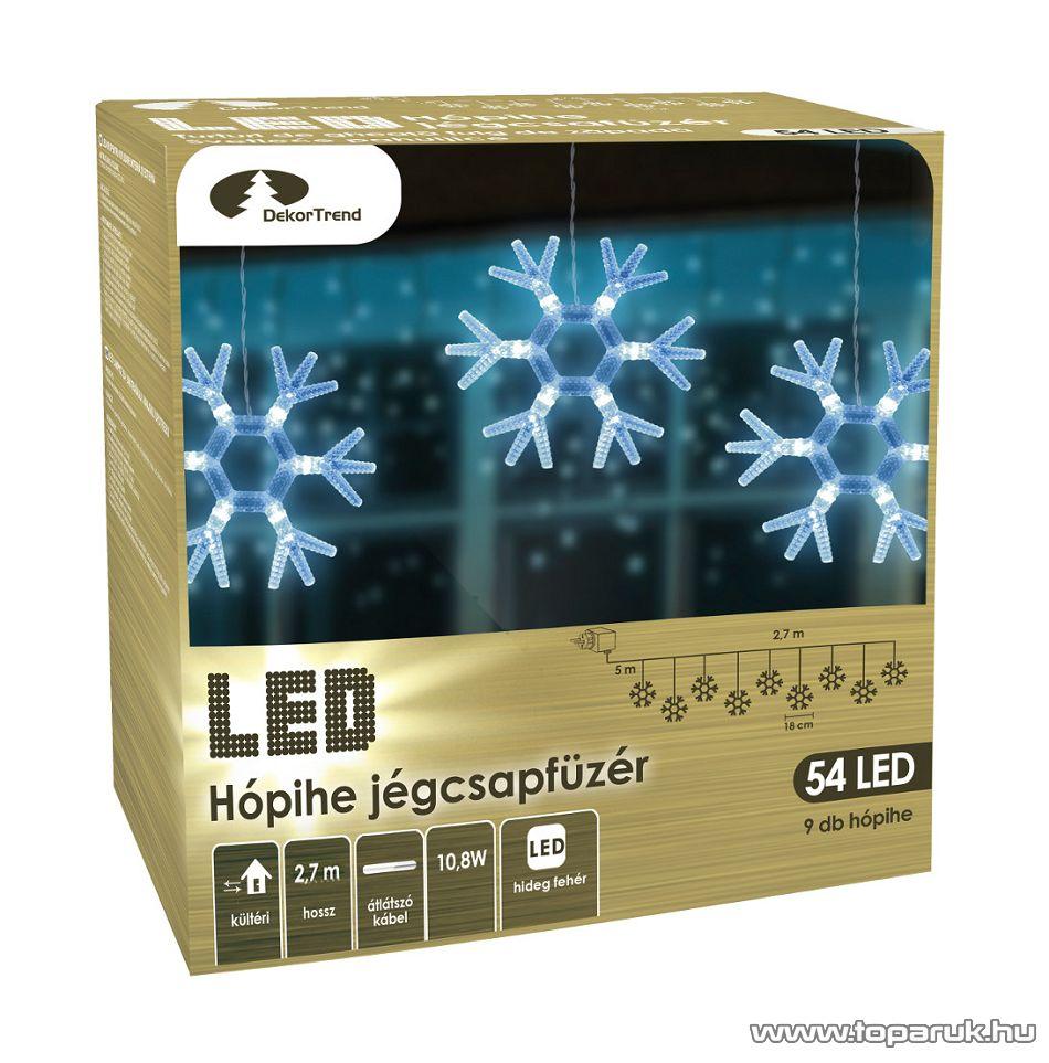DekorTrend KDH 001 Kültéri LED-es HÓPIHE JÉGCSAPFÜZÉR, 270 cm hosszú, 9 db hideg fehéren világító hópihe