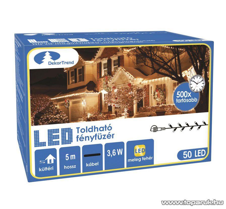 Design Dekor KDK 001 Kültéri toldható kontakt LED fényfüzér, 5 m hosszú, 50 db melegfehér LED-del