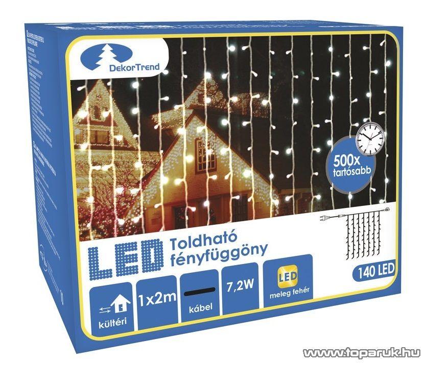 Design Dekor KDK 009 Kültéri toldható kontakt LED fényfüggöny, 100 x 200 cm, 140 db melegfehér LED-del
