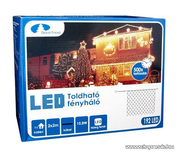 Design Dekor KDK 018 Kültéri toldható kontakt LED fényháló, 200 x 200 cm, 192 db hidegfehér LED-del