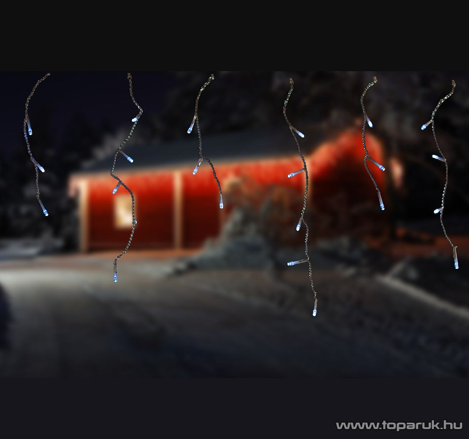 Design Dekor KDL 141 Kültéri 197 LED-es jégcsap füzér, 6 m, hideg fehér fényű, átlátszó vezetékkel