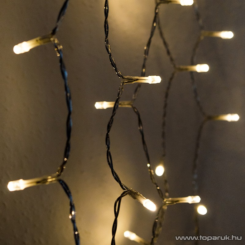 Design Dekor KDL 142 Kültéri 198 LED-es fényfüggöny, 150 x 150 cm, átlátszó kábellel, meleg fehér