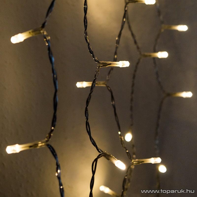 Design Dekor KDL 144 Kültéri 192 LED-es fényfüggöny, 90 x 200 cm, átlátszó kábellel, meleg fehér