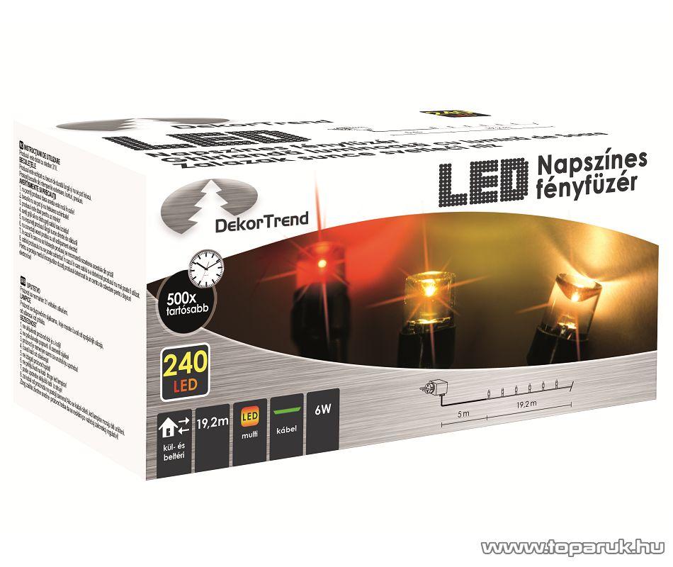 Design Dekor KDM 241 Kültéri 240 LED-es NAPSZÍNES fényfüzér, 19,2 m hosszú, zöld színű kábellel, színes (multi) világítással