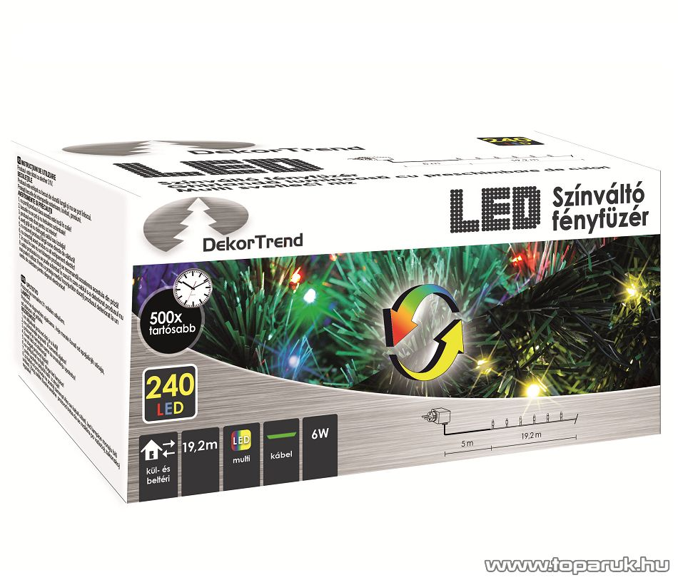 Design Dekor KDM 242 Kültéri 240 LED-es SZÍNVÁLTÓS FÉNYFÜZÉR, 19,2 m hosszú, zöld színű kábellel, színes (multi) világítással