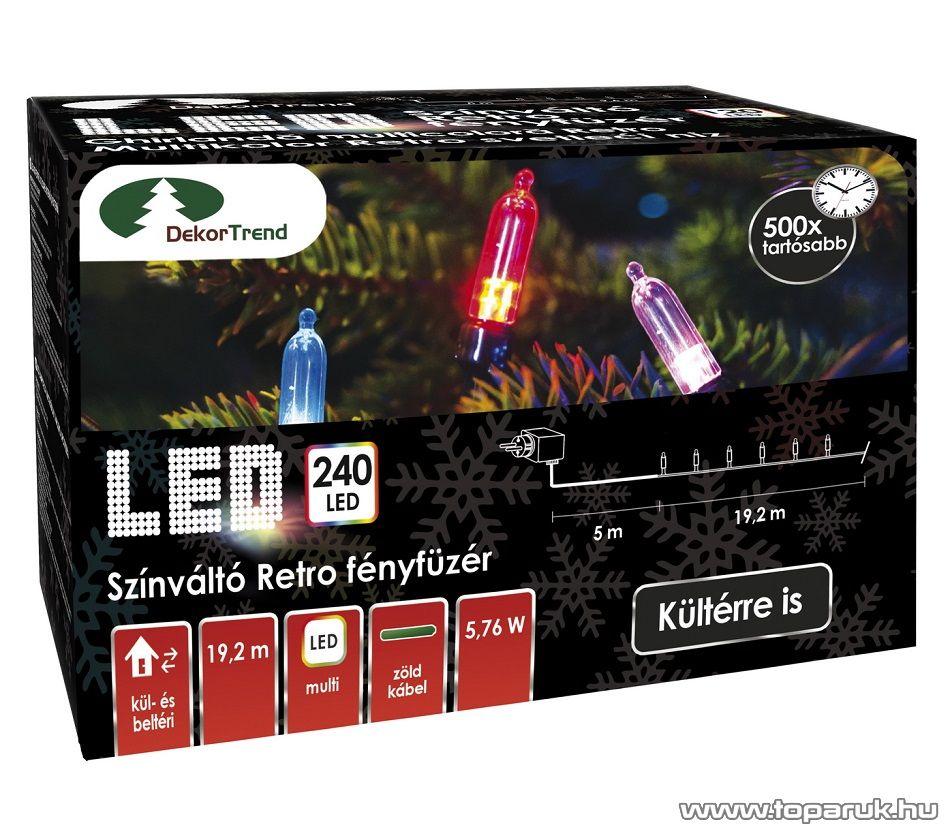 Design Dekor KDP 246 Kültéri 240 LED-es színváltós RETRO fényfüzér, 19,2 m hosszú, zöld színű kábellel, színes (multi) világítással - megszűnt termék: 2016. november
