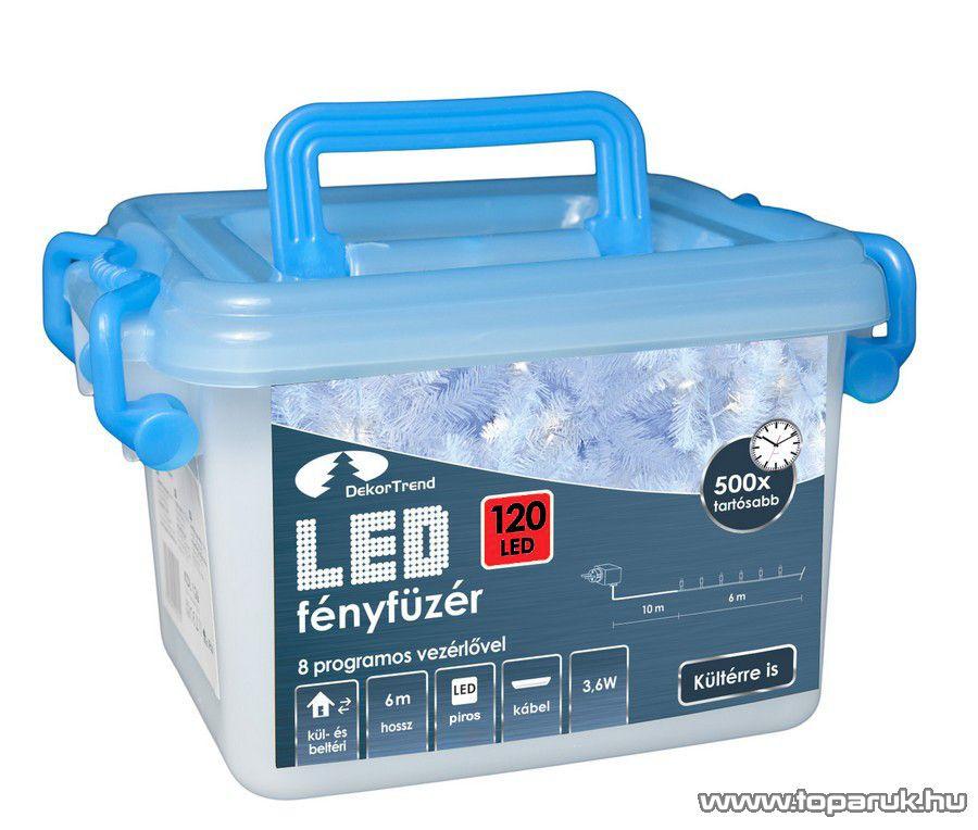 Design Dekor KDVF 124 Kültéri vezérlős LED-es fényfüzér, 8 program, 6 m, fehér kábellel, 120 db piros LED-del