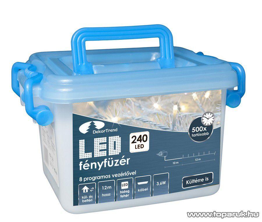 Design Dekor KDVF 242 Kültéri vezérlős LED-es fényfüzér, 8 program, 12 m, fehér kábellel, 240 db hidegfehér LED-del