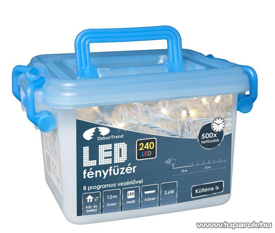 Design Dekor KDVF 245 Kültéri vezérlős LED-es fényfüzér, 8 program, 12 m, fehér kábellel, 240 db színes (többszínű) LED-del