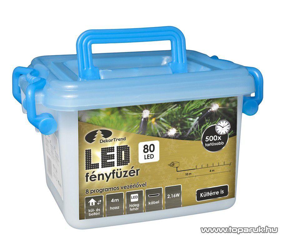 Design Dekor KDV 082 Kültéri vezérlős LED-es fényfüzér, 8 program, 4 m, fekete kábellel, 80 db hidegfehér LED-del