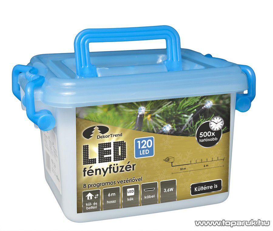 Design Dekor KDV 123 Kültéri vezérlős LED-es fényfüzér, 8 program, 6 m, fekete kábellel, 120 db hideg kék LED-del
