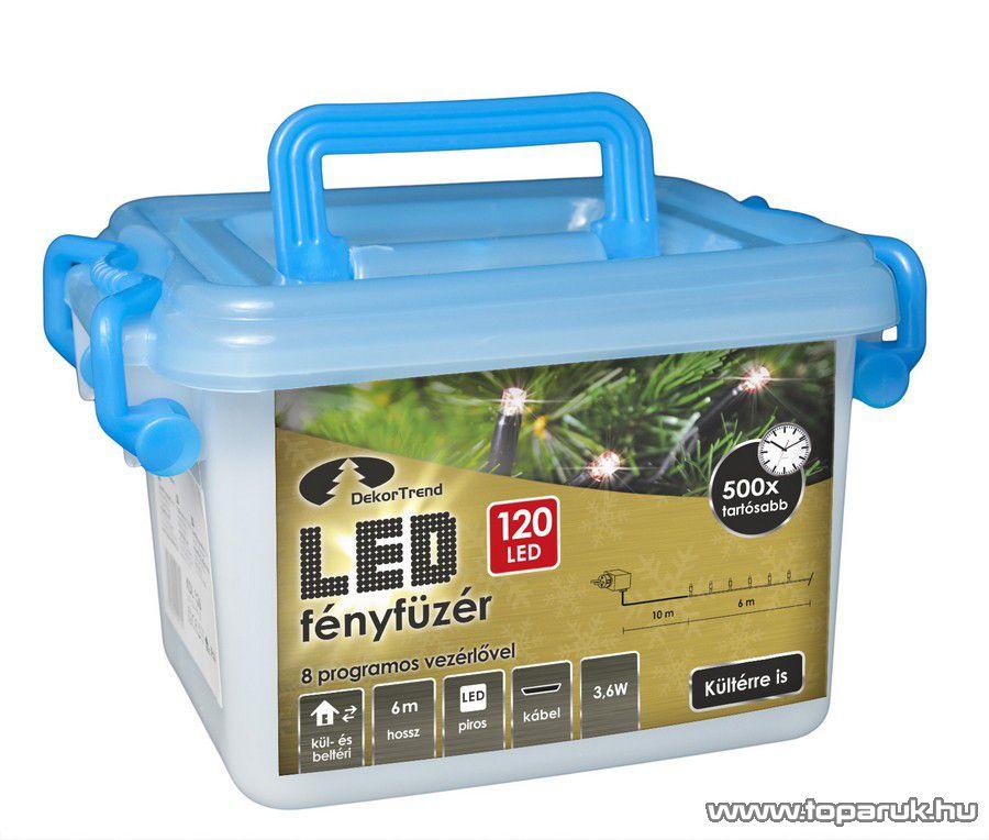 Design Dekor KDV 124 Kültéri vezérlős LED-es fényfüzér, 8 program, 6 m, fekete kábellel, 120 db piros LED-del