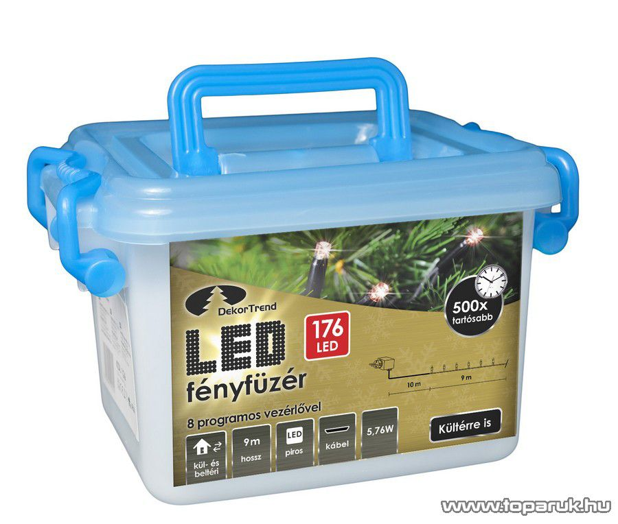 Design Dekor KDV 174 Kültéri vezérlős LED-es fényfüzér, 8 program, 9 m, fekete kábellel, 176 db piros LED-del