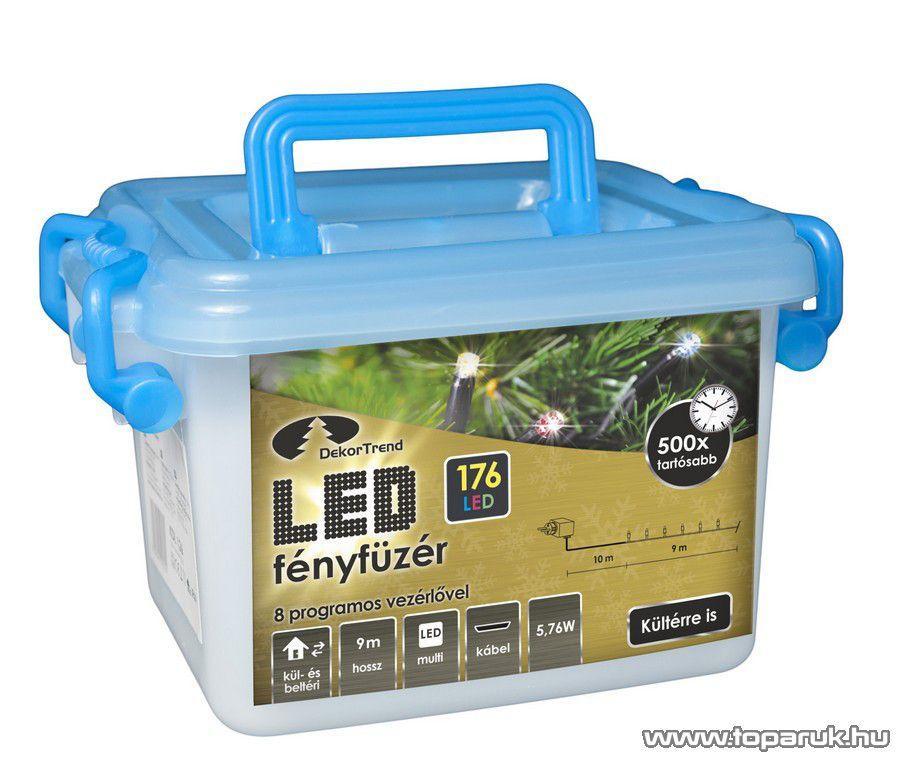 Design Dekor KDV 175 Kültéri vezérlős LED-es fényfüzér, 8 program, 9 m, fekete kábellel, 176 db színes (többszínű) LED-del