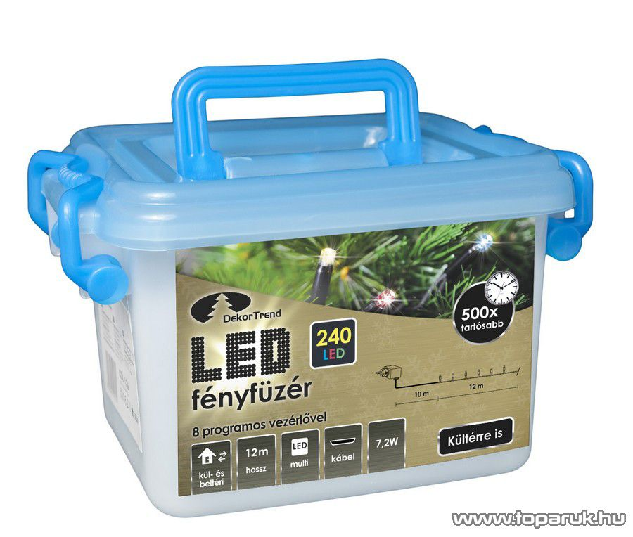 Design Dekor KDV 245 Kültéri vezérlős LED-es fényfüzér, 8 program, 12 m, fekete kábellel, 240 db színes (sokszínű) LED-del
