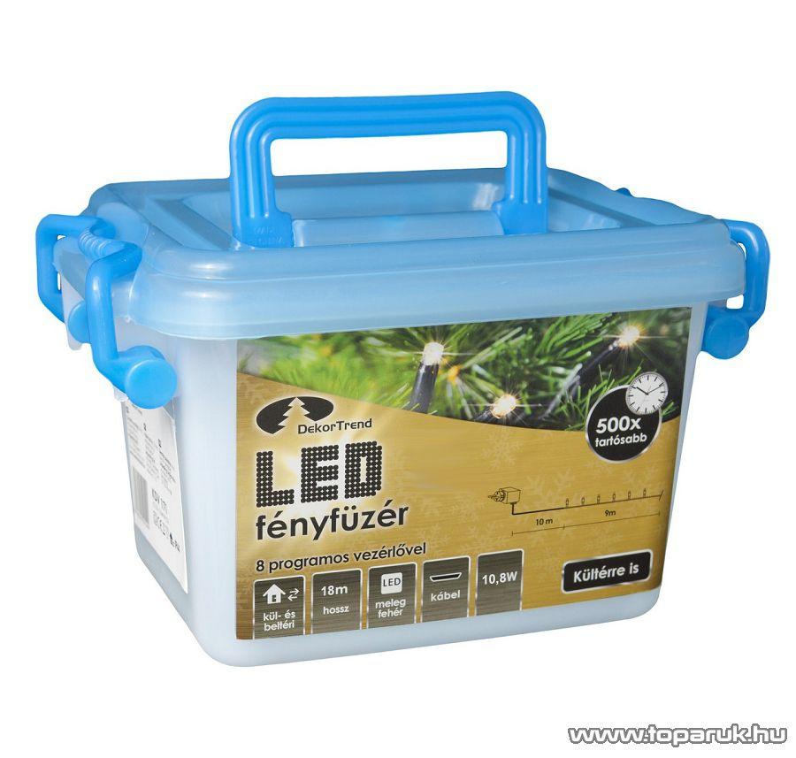 Design Dekor KDV 362 Kültéri vezérlős LED-es fényfüzér, 8 program, 18 m, fekete kábellel, 360 db hidegfehér LED-del