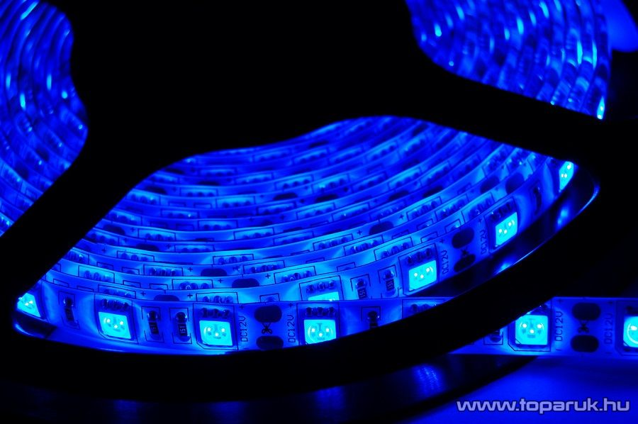 Design Dekor Kültéri világító 180 LED-es SMD LED szalag közepes fényerejű 3528 SMD LED chippel, 3 méter hosszú, kék színű (KNS 334) - készlethiány