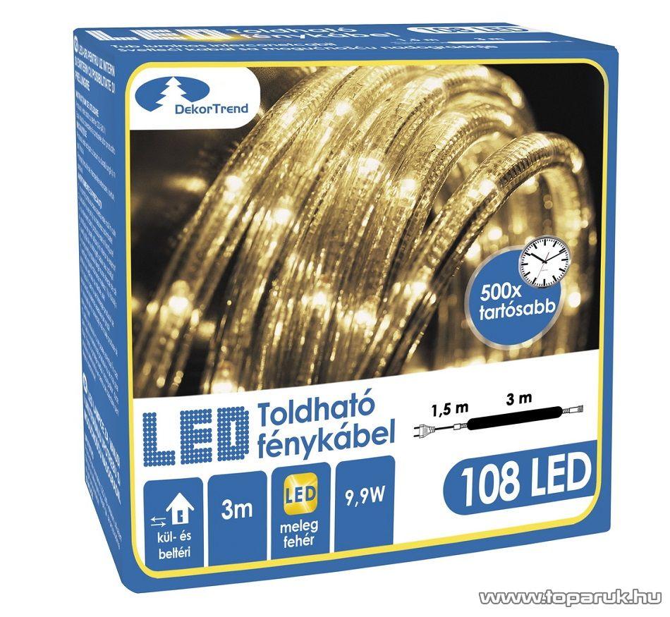 Design Dekor KNT 033 Kültéri toldható 108 LED-es fénykábel, 3 méter hosszú, meleg fehér színű