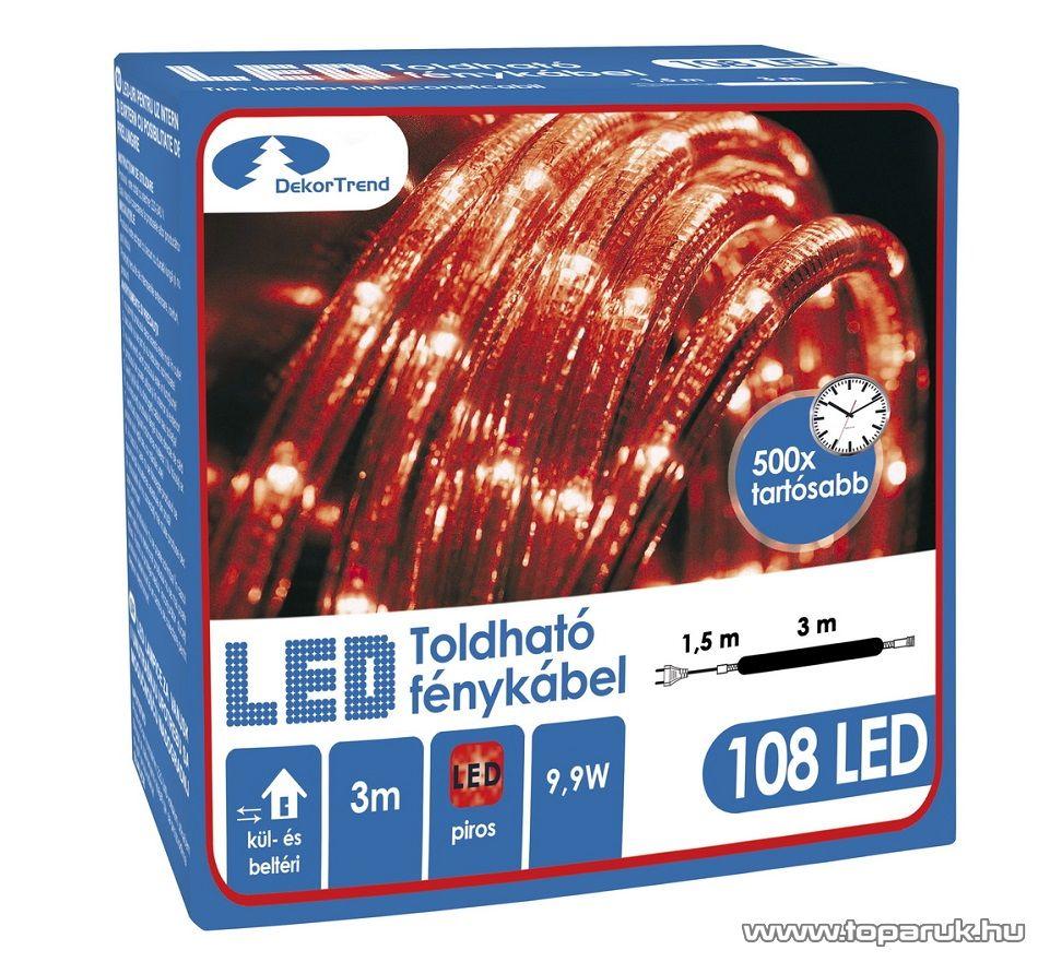 Design Dekor KNT 034 Kültéri toldható 108 LED-es fénykábel, 3 méter hosszú, piros színű - készlethiány