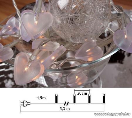 Design Dekor KSA 680 Beltéri szív fényfüzér, 3,8 m, fehér