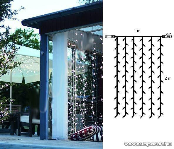System Decor LED KSA 719 Kültéri toldható LED-es Fényfüggöny EXTRA, 100 x 200 cm, 100 db hideg fehér LED-del - készlethiány