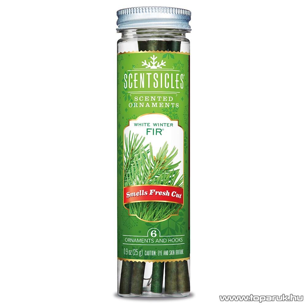ScentSicles KSC 001 White Winter Fir műfenyőre akasztható illatrúd (illatpálca), zöldfenyő illattal, 6 db pálca / doboz