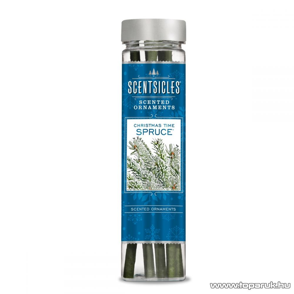 ScentSicles KSC 002 Christmas Time Spruce műfenyőre akasztható illatrúd (illatpálca), lucfenyő illattal, 6 db pálca / doboz
