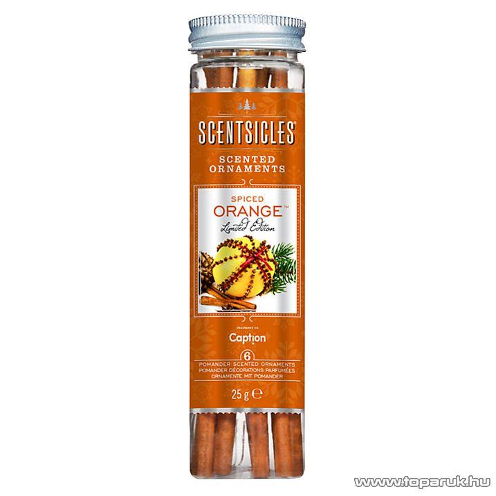 ScentSicles KSC 005 Spiced Orange műfenyőre akasztható illatrúd (illatpálca), fűszeres narancs illattal, 6 db pálca / doboz