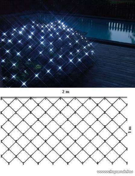 SERIE LED KSE 668 Kültéri fényháló, 200 x 100 cm, fekete kábellel, hidegfehér - készlethiány