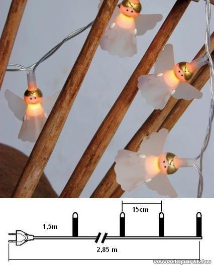 Design Dekor KST 006 Beltéri angyalfigurás fényfüzér, 1,35 m