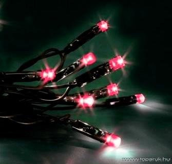 SERIE LED KST 655 Kültéri fényfüzér, 12 m, fekete kábellel, piros