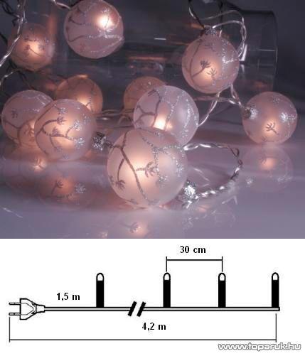 Design Dekor KST 925 Beltéri üveggömb fényfüzér, fehér - készlethiány